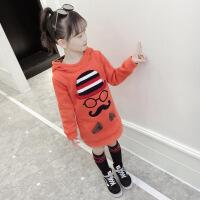 女童卫衣加绒加厚2018新款儿童秋冬装中长款外套大童装洋气韩版潮
