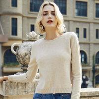 羊毛衫女韩版圆领秋冬色打底衫女士冬季羊毛毛衣