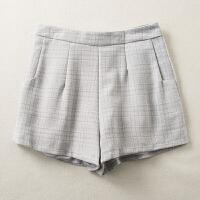 2018春装新款高腰学生格子复古修身显瘦西装短裤