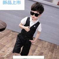 韩版夏季男童假两件套短袖T恤套装英伦儿童西装马甲花童礼服男