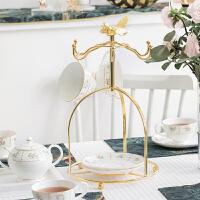 镀金铁艺咖啡杯挂架欧式茶具水杯咖啡具架子收纳架家用置物架