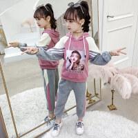 童装2019秋季新款女童miss套装儿童连帽上衣+长裤女孩两件套