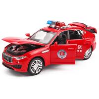 消防车警察车汽车模型儿童玩具仿真公安警车合金车模 1:32特警