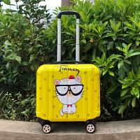 韩版18寸儿童行李箱万向轮拉杆箱迷你旅行箱16寸密码箱LOGO 柠檬黄 镜面小白猫