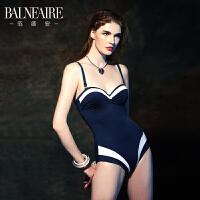 范德安黑色显瘦性感沙滩泳衣女连体 小胸聚拢泳装保守遮肚游泳衣