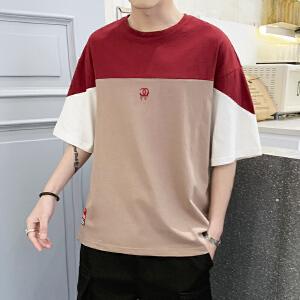 2019新款夏季短袖t恤男士宽松ins半袖T恤韩版潮衣服五分袖打底衫