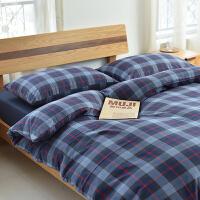 秋冬全棉磨毛四件套加厚1.2 格子被套纯色床笠简约水洗日式三 深蓝色 FL蓝格 2.0m(6.6英尺)床 床单款