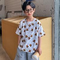 木木屋2021夏季新款儿童T恤男童短袖韩版中大童小熊体恤潮款薄款男孩潮