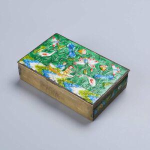 民国铜烧蓝荷花人物图文房盒