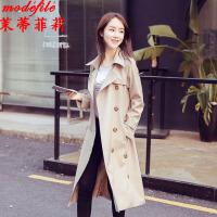 茉蒂菲莉 风衣 女士长袖翻领纯色上衣春季 新款韩版休闲潮气质女式中长款学生宽松外套时尚女装