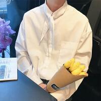 2018夏季男士纯色新款个性领长袖衬衫韩风青年学院风长袖衬衣