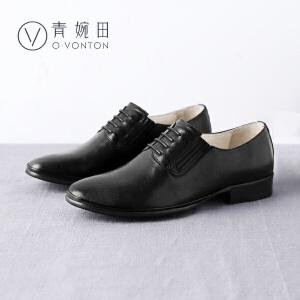 青婉田2017春季新品英伦风女鞋尖头系带平底单鞋女手工羊皮小皮鞋