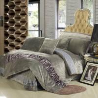 色保暖珊瑚绒四件套冬季加厚法莱绒天鹅绒被套床单床上用品 灰色 高雅灰