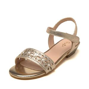 鞋柜Pinkii/苹绮女童凉鞋 镂空花朵中大童公主鞋 休闲儿童凉鞋夏
