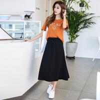 韩都衣舍2017韩版女装夏装新款针织中长款A字黑色半身裙