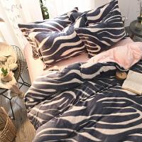 秋冬加厚保暖绒四件套宝宝绒短毛绒法兰绒被套珊瑚绒床上用品 圣米格尔 灰1 2.0m(6.6英尺)床 床笠款需定制不可退