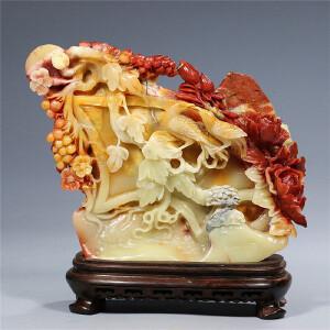 寿山芙蓉石摆件  花开富贵