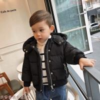 婴童装儿童男童冬装短款棉衣加厚连帽外套百搭宝宝棉袄 黑色 现货