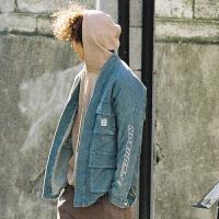 日系潮牌洗水针织牛仔合服式工装开衫外套男女情侣款嘻哈