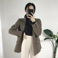 2018秋休闲复古千鸟格子西服宽松毛呢小西装外套女中长款显瘦