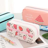 【单品包邮】简约 硅胶 帆布 女 大容量 笔袋 韩国 可爱 铅笔盒 创意 初中 小学生 文具袋