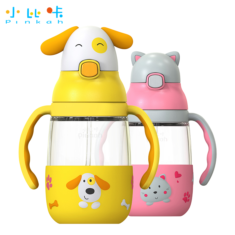 吸管玻璃水杯 儿童玻璃杯婴儿学饮杯带手柄宝宝缓冲