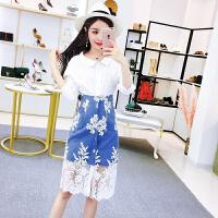 韩版小清新2018新款牛仔连衣裙气质衬衫上衣配裙子两件套装裙