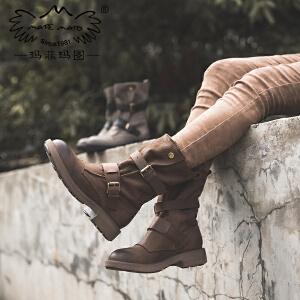 玛菲玛图chic马丁靴2019秋季新款休闲磨砂皮圆头中筒靴中跟平底皮带扣军靴5751-31W