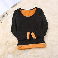 加绒保暖内衣季加厚肉色打底衫肤色长袖T恤单件上衣无缝上装女 均码(85-130斤)