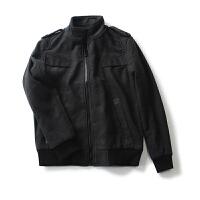 男装冬装新 简约风纯色拉链外套长袖毛呢大衣男短