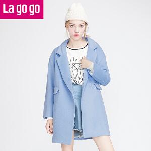 拉谷谷新款纯色翻领长袖韩版大衣女秋冬宽松毛呢外套
