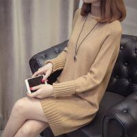 高领毛衣女秋冬针织韩版百搭长袖套头纯色宽松打底中长款毛衣裙厚