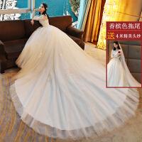婚纱礼服新娘长拖尾2018新款春季长袖韩式一字肩蕾丝显瘦大码齐地