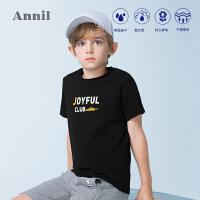 【159元3件】安奈儿童装男童T恤短袖薄款夏装新款中大童半袖字母印花上衣