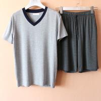 可外穿家居服男夏莫代尔V领镶边短袖T恤五分裤宽松休闲睡衣套装