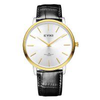艾奇(EYKI)超薄石英手表 真皮表带 两针设计 商务休闲男表女表情侣对表 1003