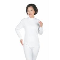 秋衣秋裤中老年人女中高领保暖内衣妈妈棉毛衫加大码套装白色