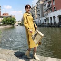 秋冬呢子外套韩版流行中长款双面呢羊绒大衣女 黄色
