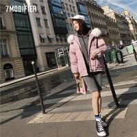短款羽绒服女2018新款冬季韩版时尚宽松大毛领小个子粉色加厚外套