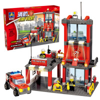开智消防局总部救援直升机消防车儿童早教益智小颗粒积木外贸8051