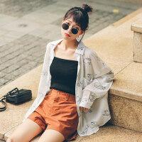 ins学生雪纺长袖衬衫女2018夏季新款 韩范宽松薄外套防晒上衣 白色 F
