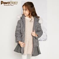 【3件3折 到手价:419】Pawinpaw卡通小熊童装冬女童拼接羽绒服中小童白鸭绒