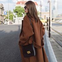 哆哆何伊毛呢大衣女复古中长款呢子韩国2018新款秋冬双面呢焦糖色矮个外套