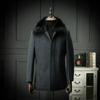 贵的有理 新款真毛领羊毛大衣绗棉厚款羊毛呢子大衣外套送爸爸装