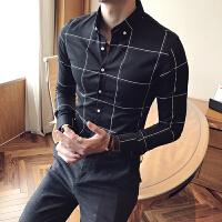 2017春季韩版男士长袖修身型衬衫百搭发型师韩国帅气衬衣格子寸衫