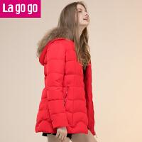 【618大促-每满100减50】Lagogo羽绒服女修身中长款2017春季新款时尚拉链帽子长袖外套!
