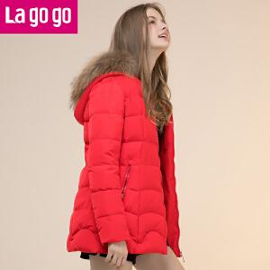 Lagogo羽绒服女修身中长款2017春季新款时尚拉链帽子长袖外套!