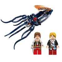 拼装插积木6-12岁儿童男孩益智玩具海盗系列机械乌贼模型