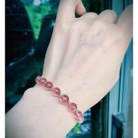 草莓晶粉晶紫水晶发晶月光石碧玺 银 手链镯女 水晶 礼物
