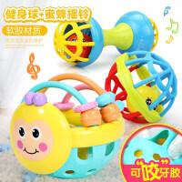 婴儿玩具手摇铃0-1岁女宝宝可啃咬拨浪鼓软胶3-6-12个月8男孩